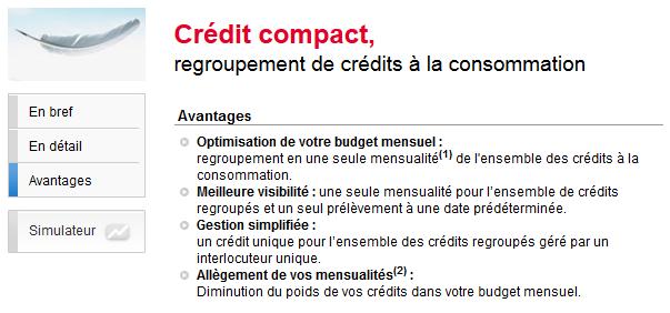 credit compact rachat de crédit conso société générale