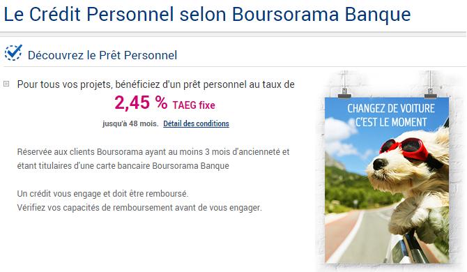 prêt personnel boursorama