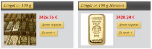 lingot or 100g acheter or argent